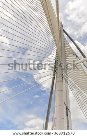 The futuristic cable-stayed Wawasan bridge in Putrajaya, the Malaysian federal administrative capital. #368912678