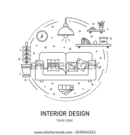 Interior design  round concept made in modern line style. Living room vector illustration. Can be used for infographics design, web elements.  Royalty-Free Stock Photo #369064565