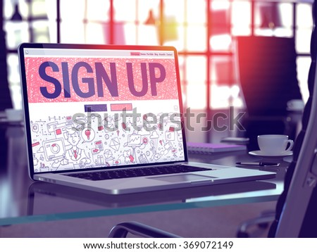 Modern Workplace with Laptop showing Landing Page in Doodle Design Style with text Sign Up. Toned Image with Selective Focus. 3d render. #369072149