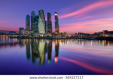 Evening view of the Moscow City #369227117