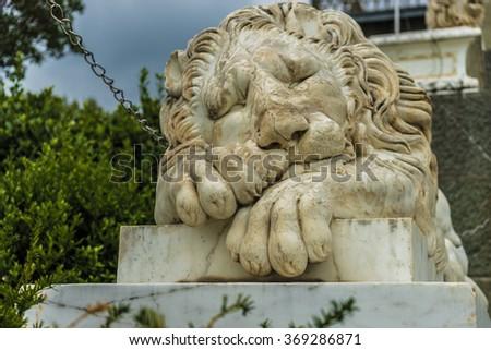marble lion sculpture  #369286871