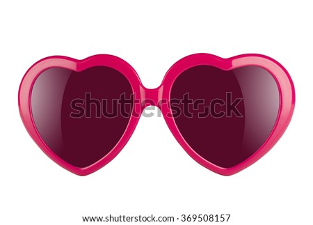 A pair of pink heart shaped sun glasses with violet lenses isolated on white background  Royalty-Free Stock Photo #369508157