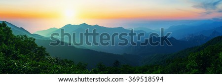 Sunrise at Seoraksan National Park, The best of Mountain in South Korea. Panorama landscape. #369518594