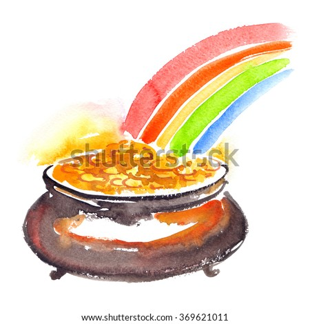 Cauldron full of gold painted in watercolor on white isolated background