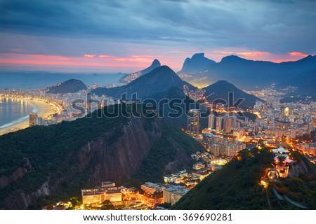 Night view of Rio de Janeiro, Brazil Royalty-Free Stock Photo #369690281