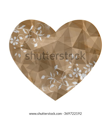 Brown heart in love polygonal low poly with abstract flower on isolated #369722192