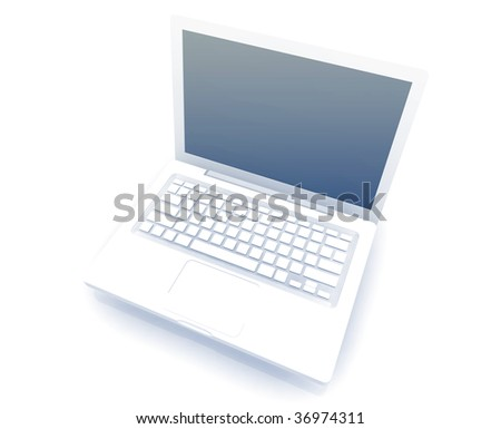 Notebook laptop computer illustration glossy metal style isolated #36974311