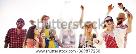 Teenagers Friends Beach Party Happiness Concept #369877250