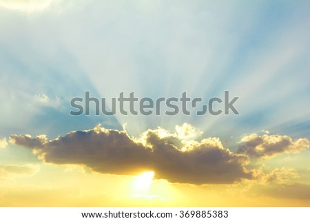 Sunset Sky With Lighted Clouds  #369885383
