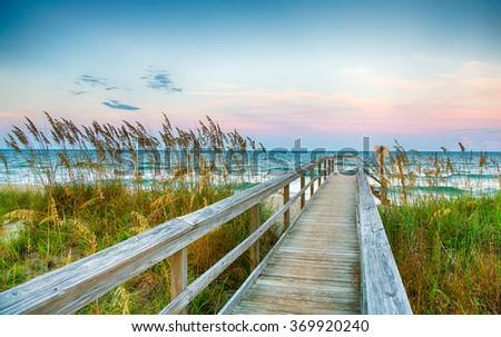 Public Beach access on Kure Beach on North Carolina's Atlantic coast. #369920240