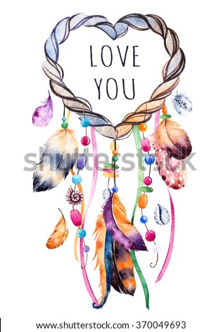 Hand drawn illustration of dreamcatcher.Ethnic illustration with native American Indians watercolor dreamcatcher.Boho style.Template card. Parfect for Happy Valentines Day, print, diy projects,blogs