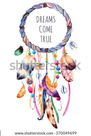 Hand drawn illustration of dreamcatcher.Ethnic illustration with native American Indian watercolor dreamcatcher.Boho style.Template card.Parfect for greeting cards,print,diy projects,blogs.thanks card