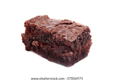 Delicious chocolate fudge brownie on a  white background (short depth of field) #37006975