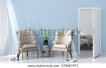 Modern bright interior. 3D render #370087997