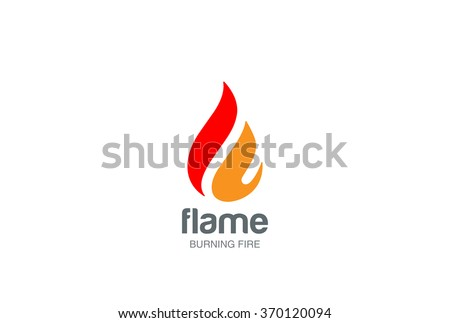 Fire Flame Logo design vector template drop silhouette. Creative Droplet Burn Elegant Bonfire Logotype Fire Logo concept icon.