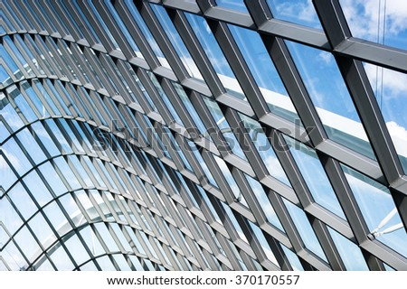 Glass and framing design pattern of modern architecture #370170557
