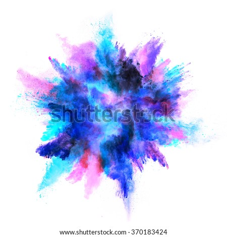 Explosion of colored powder, isolated on white background Royalty-Free Stock Photo #370183424