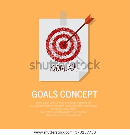 Goals concept paper with orange background #370239758