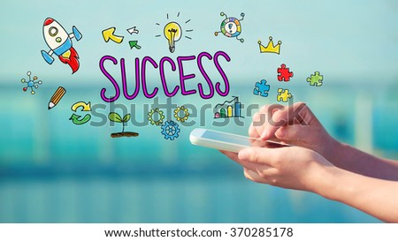 Success concept with person holding a smartphone  #370285178