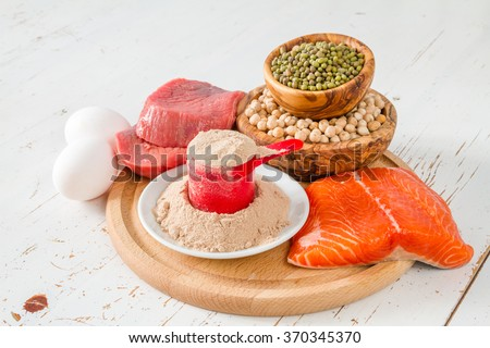 Selection of protein sources, white wood background #370345370