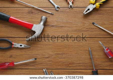 Set of tools on cork panel background and for copy space #370387298