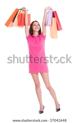 Beautiful young woman shopping #37042648