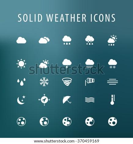 Set of 25 Universal Weather Icons. Isolated Elements. #370459169