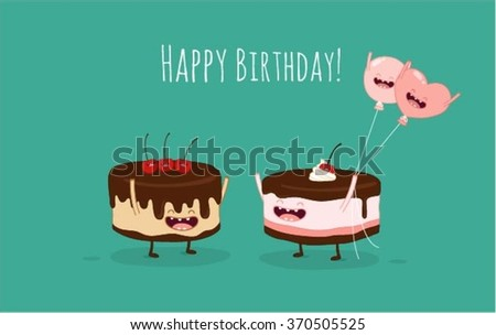 Happy birthday card. Funny birthday cake and balloon friends. Vector illustration. Use for card, poster, banner, web design and print on t-shirt. Easy to edit. Vector illustration.