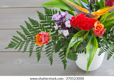 bouquet of flowers of different varieties in the vase #370523000