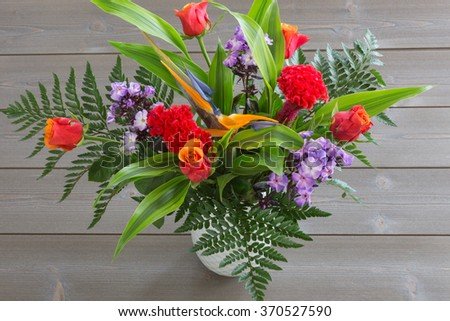 spring bouquet of colorful flowers. color image. bright background. #370527590