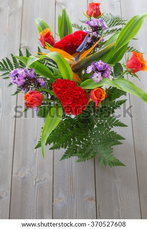 spring bouquet of colorful flowers. color image. bright background. #370527608