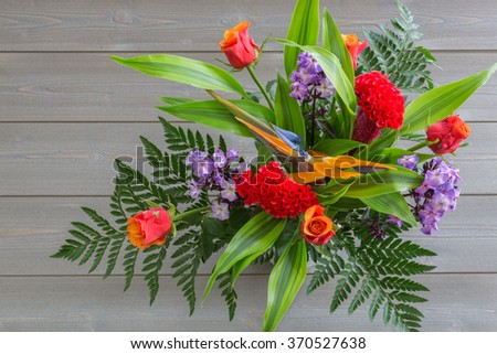 spring bouquet of colorful flowers. color image. bright background. #370527638