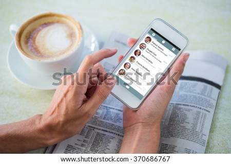 Smartphone app menu against man using mobile phone by coffee and newspaper in cafe Royalty-Free Stock Photo #370686767