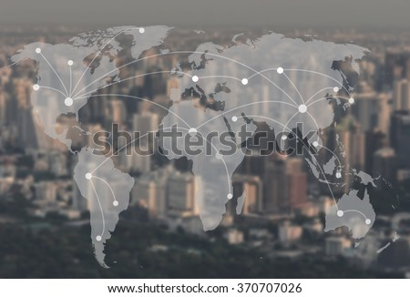 network and world map on blur city,networking concept,Elements of this image furnished by NASA