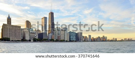 Huge Chicago coastal area panorama