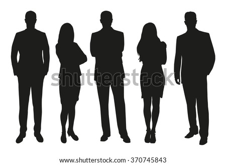 Business people, set of vector silhouettes Royalty-Free Stock Photo #370745843