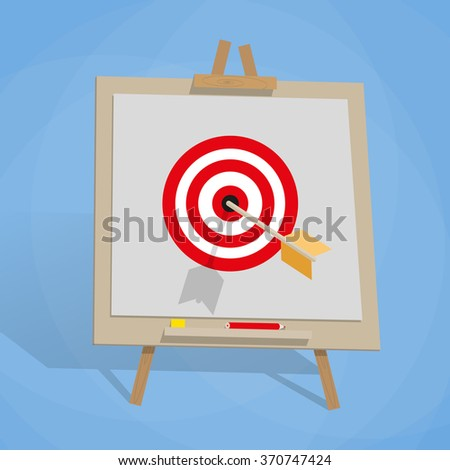 Flip chart with target, and arrow #370747424