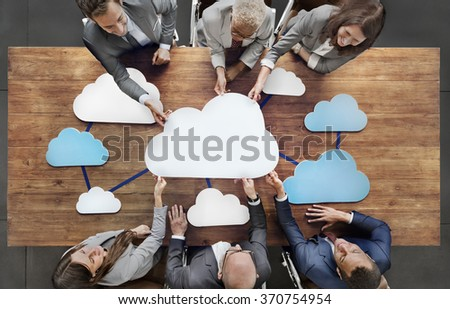 Business People Joining Cloud Teamwork Concept #370754954