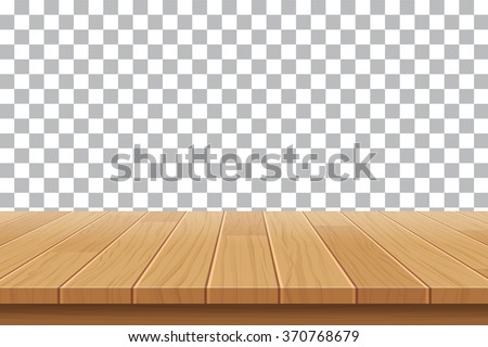 vector wood table top on isolated background Royalty-Free Stock Photo #370768679