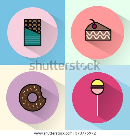 Yummy sweet treats concept. Chocolate Bar. Cake Slice with Cherry on top. A piece of Brownie. A chocolate cream donut with sprinkles and bite mark. Colorful Lollipop. Digital raster round icon set