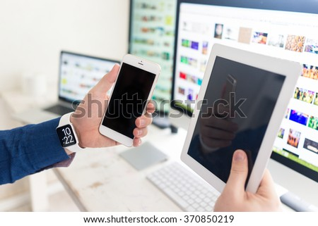 Using smart watch smartphone tablet laptop and computer #370850219