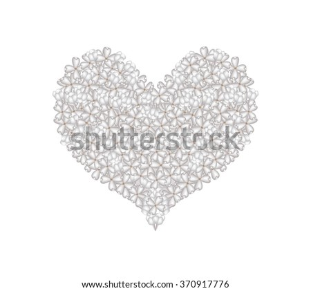 Love Concept, Illustration of White Lilac or Syringa Vulgaris Flowers Forming in Heart Shape Isolated on White Background. #370917776