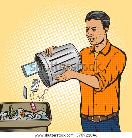 Man throws gadget devices into trash pop art style raster. Comic book style imitation. Vintage retro style. Conceptual illustration