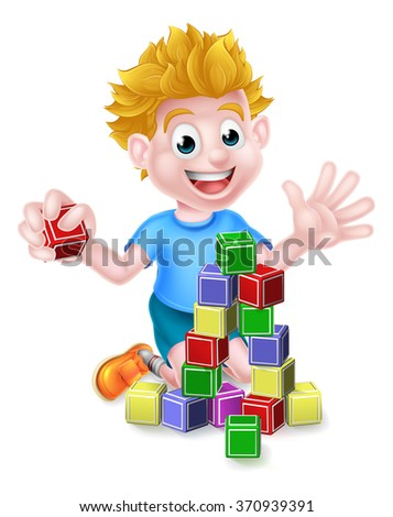A happy cartoon boy child kid playing with building or learning blocks