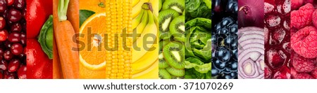 collage of colorful vegetables and fruits #371070269
