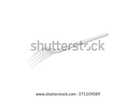 plastic disposable fork is isolated on a white background