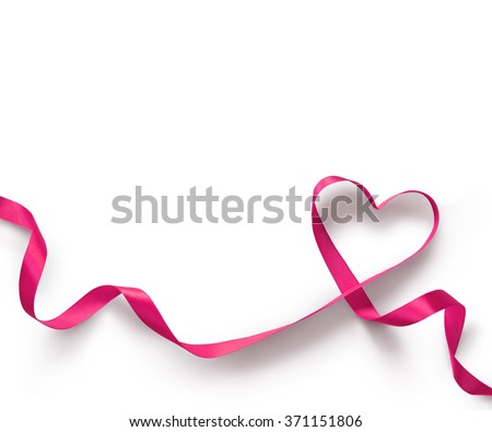 Happy Valentines Day. Pink Ribbon Heart on white background. Valentines Day concept Royalty-Free Stock Photo #371151806