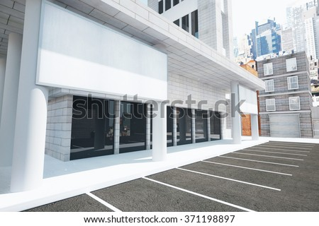 Blank white billboard on the wall of modern building on the street, mock up 3D Render