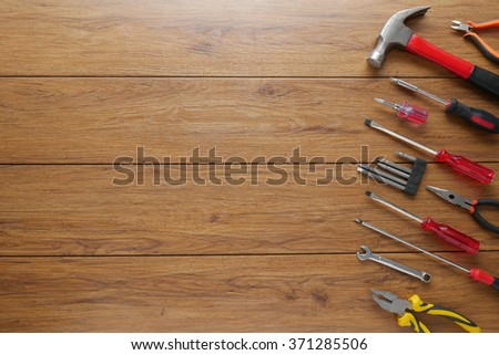 Set of tools on cork panel background and for copy space #371285506