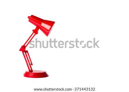 Red metal lamp with a white background #371443132